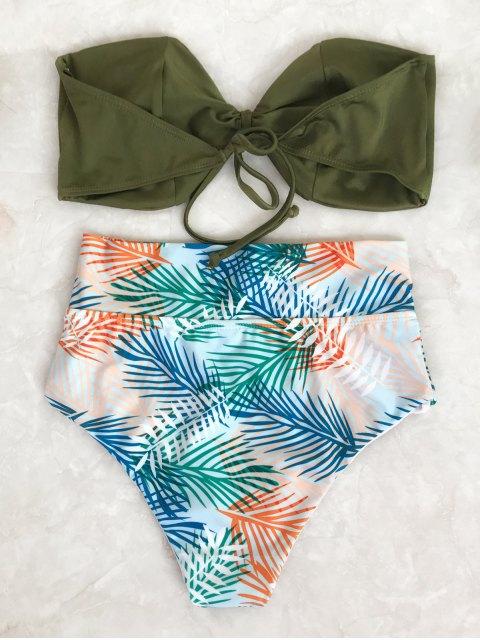 fashion Tropical Bandeau High Waisted Bikini Set - LEAF S Mobile