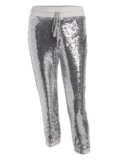 womens Sequins Drawsting Jogging Pants - SILVER S Mobile