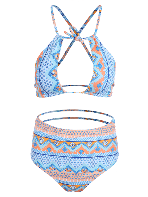 outfit Cut Out High Neck Bikini Set - MULTICOLOR XL Mobile