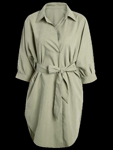 shops Self Tie Shirt Dress - KHAKI XL Mobile