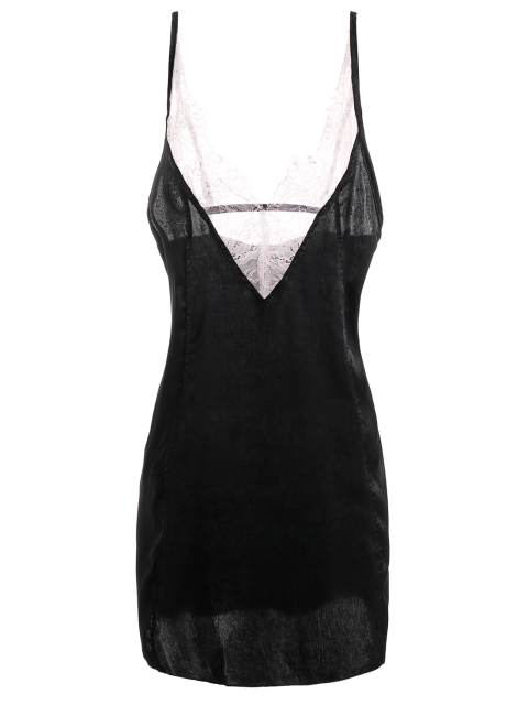 womens Cami Lace Panel Satin Backless Dress - BLACK M Mobile