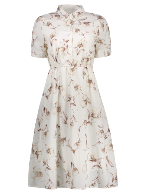 ladies Half Buttoned Floral Shirt Dress - WHITE M Mobile