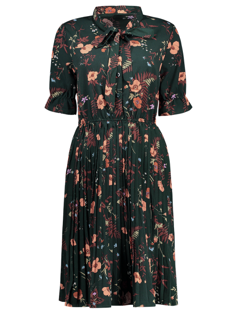 best Pussy Bow Tie Floral Pleated Shirt Dress - BLACKISH GREEN S Mobile