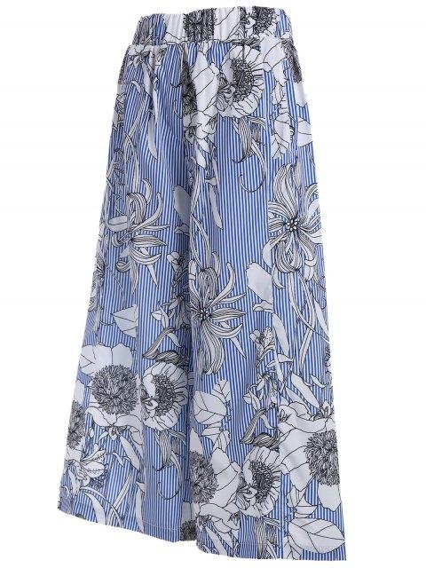 hot Floral Stripes Wide Leg Pants - COLORMIX M Mobile