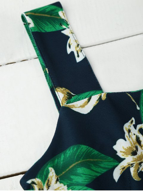 chic Floral Print Ruffle Hem Sleeveless Dress - PURPLISH BLUE XL Mobile