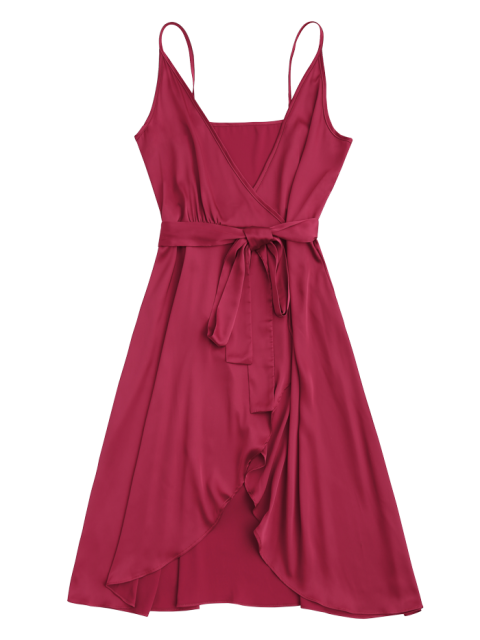 shop Spaghetti Straps Satin Belted Wrap Dress - RED L Mobile