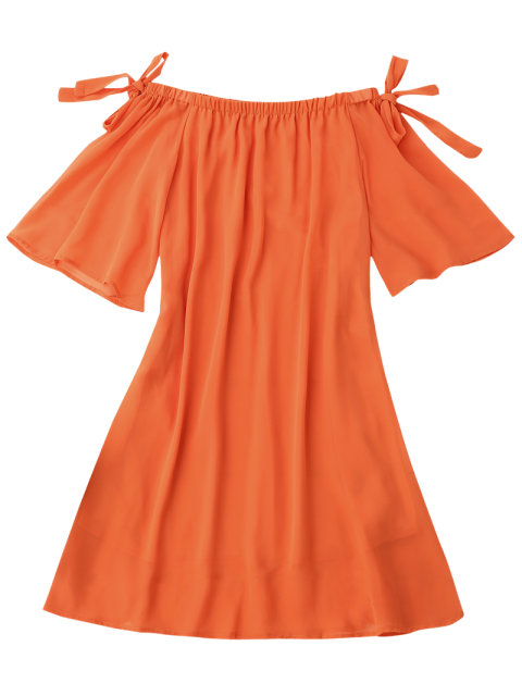 lady Tied Sleeve Off Shoulder Chiffon Dress - ORANGE S Mobile