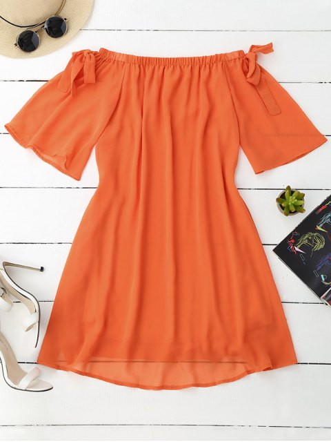 best Tied Sleeve Off Shoulder Chiffon Dress - ORANGE M Mobile
