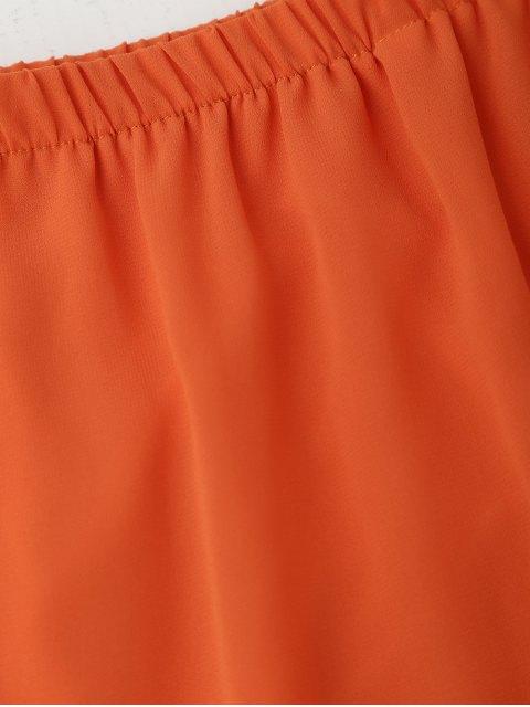online Tied Sleeve Off Shoulder Chiffon Dress - ORANGE L Mobile