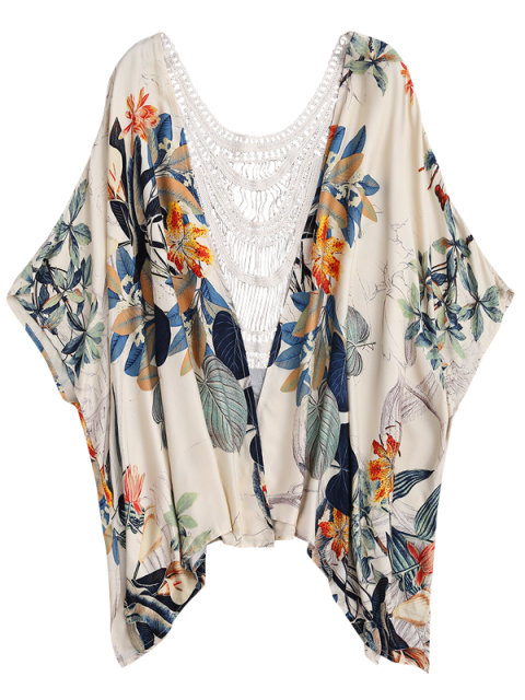 outfit Floral Crochet Panel Kimono Cover Up - FLORAL ONE SIZE Mobile