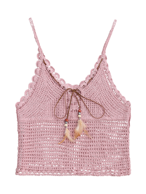 latest Crochet Cami Cover Up with Feather - PINK ONE SIZE Mobile