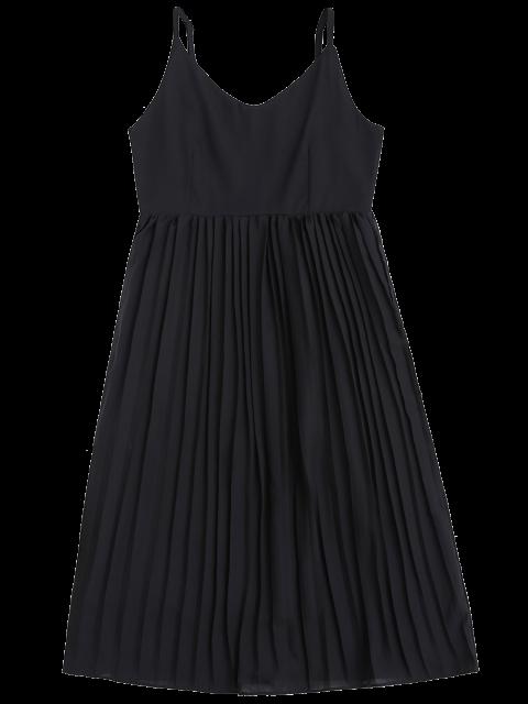 affordable Chiffon Pleated Beach Slip Dress - BLACK L Mobile
