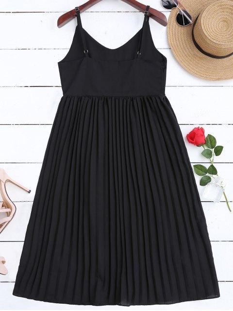 womens Chiffon Pleated Beach Slip Dress - BLACK S Mobile
