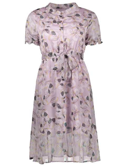 buy Buttoned Print Holiday Dress With Belt - JUBILEE M Mobile