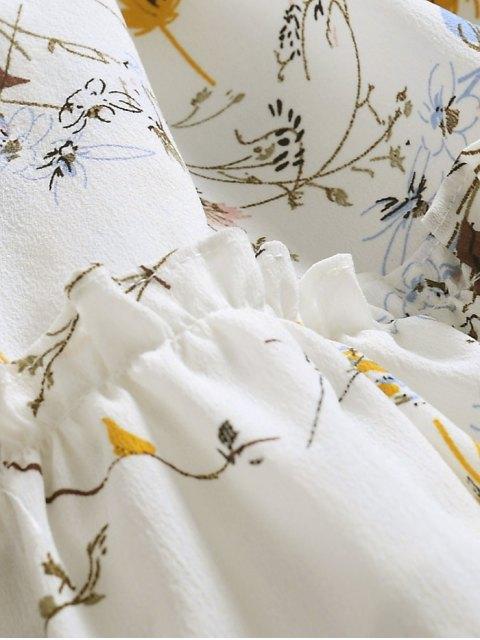Robe florale surdimensionnée à volants - Blanc XL Mobile