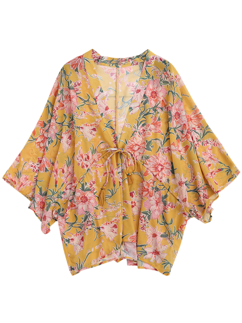 shop Drawstring Floral Kimono Duster Coat - YELLOW M Mobile