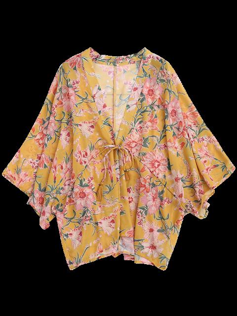 shops Drawstring Floral Kimono Duster Coat - YELLOW S Mobile