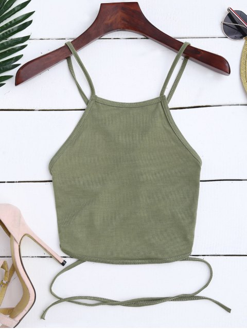 women's Cross Back Lace Up Crop Top - ARMY GREEN S Mobile
