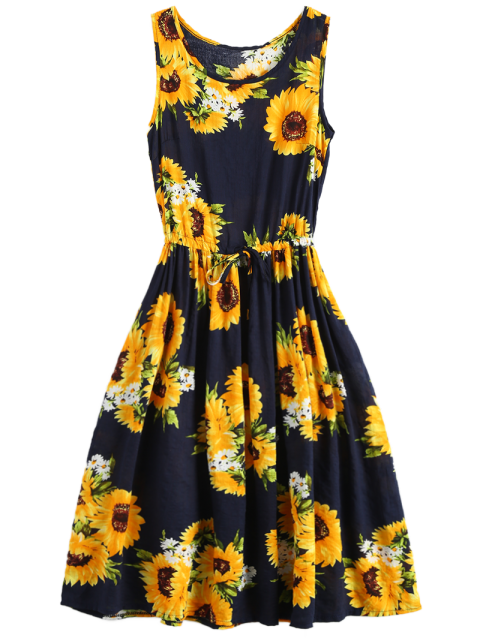 fancy Sleeveless Drawstring Waist Sunflower Dress - FLORAL XL Mobile