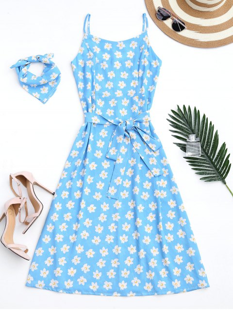 women Belted Tiny Floral Cami Dress with Scarf - AZURE M Mobile