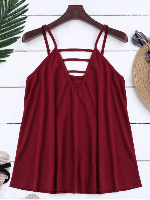 chic Ladder Cutout Trapeze Cami Top - BRICK-RED S Mobile