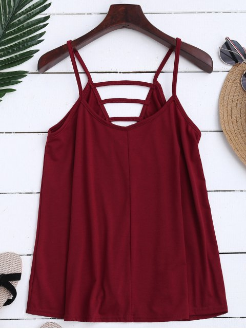 sale Ladder Cutout Trapeze Cami Top - BRICK-RED XL Mobile