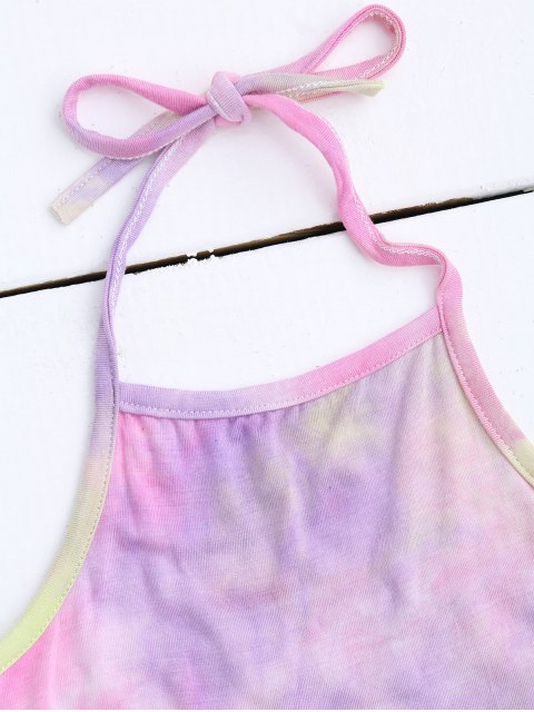 affordable Halter Tie Dye Ombre Top - PINK ONE SIZE Mobile
