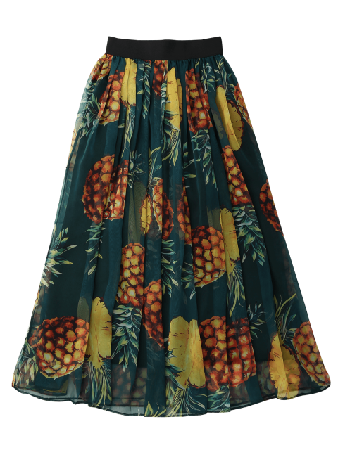 shop Pineapple Print Midi Skirt - GREEN ONE SIZE Mobile