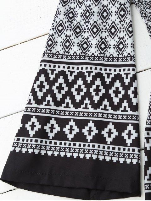 shop Shirred Waist Printed Bandeau Romper - BLACK S Mobile