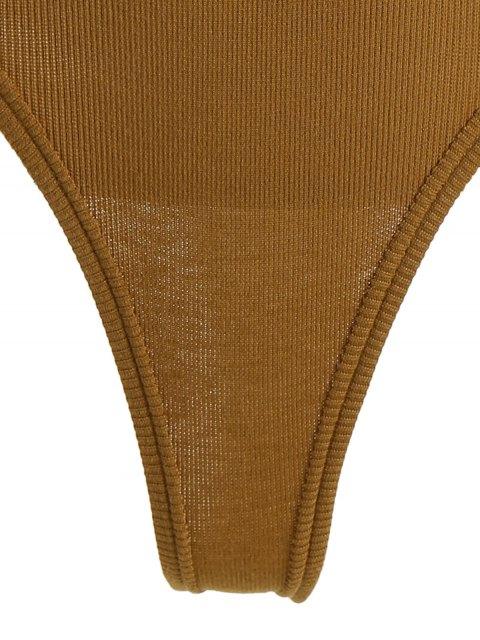 latest Half Button Knitting Ribbed Bodysuit - DARK KHAKI ONE SIZE Mobile