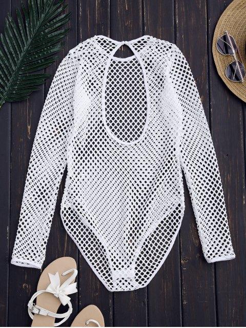 fashion Laser Cut High Leg Bodysuit - WHITE S Mobile