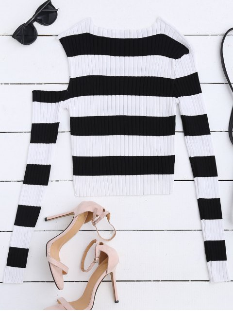 buy High Low Cold Shoulder Striped Knitwear - WHITE AND BLACK M Mobile