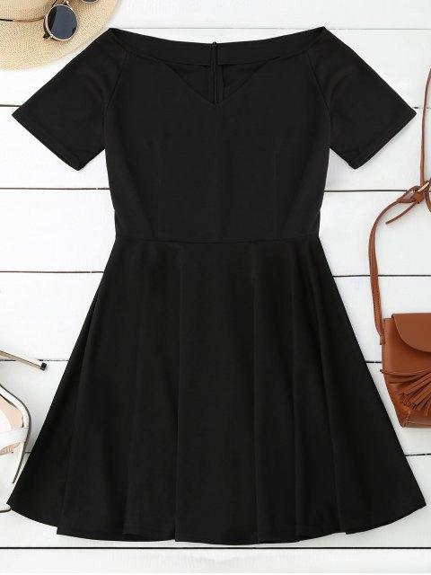 trendy V Neck Skater Dress - BLACK M Mobile