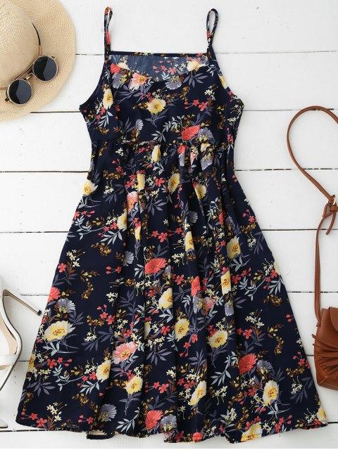 robe à bretelles et à motif floral - Bleu Foncé L Mobile