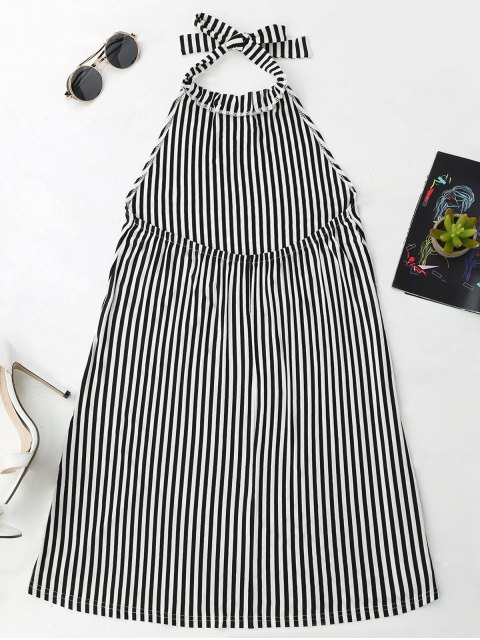 outfits Halter Backless Striped Dress - STRIPE S Mobile