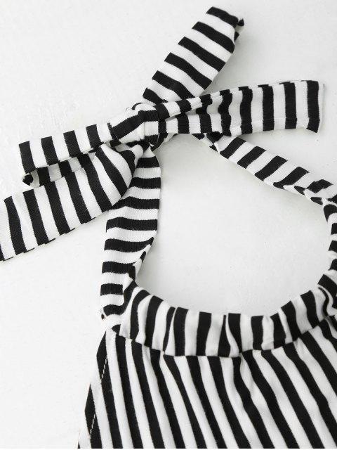 shop Halter Backless Striped Dress - STRIPE M Mobile