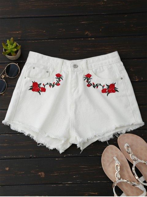 Shorts en denim floral à broderie ourlet brut - Blanc M Mobile