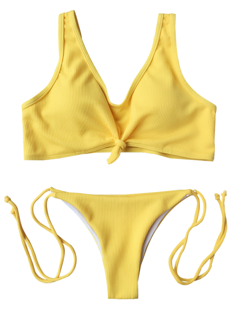 trendy Ribbed Knotted String Bralette Bikini - YELLOW M Mobile