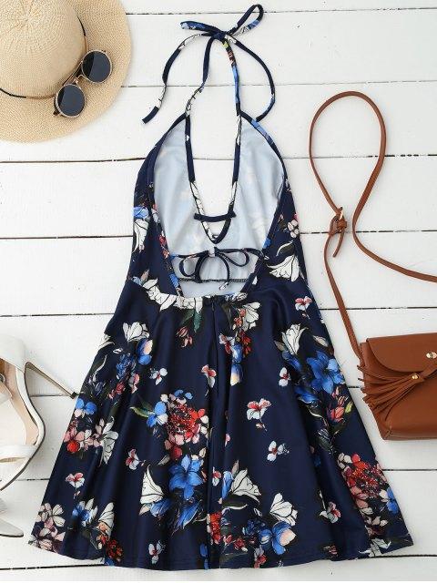best Halter Plunge Backless Floral Dress - DEEP BLUE M Mobile