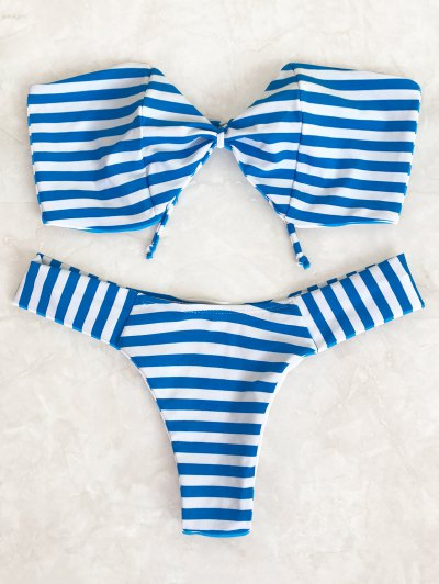 Striped Bow Bandeau Bikini Set - Blue And White S