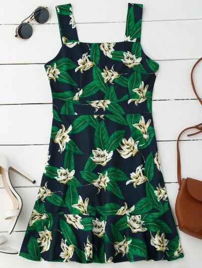 Floral Print Ruffle Hem Sleeveless Dress - Purplish Blue