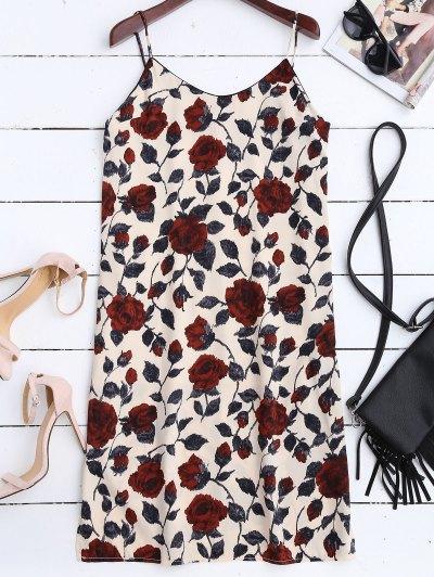 Slit Floral Casual Slip Dress - Floral
