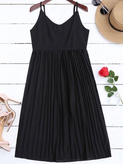 Chiffon Pleated Beach Slip Dress - Black