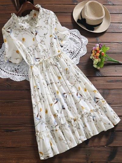 Ruffle Hem Oversized Floral Dress - White