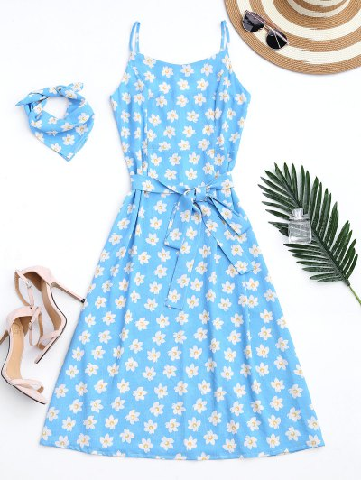 Belted Tiny Floral Cami Dress With Scarf - Azure