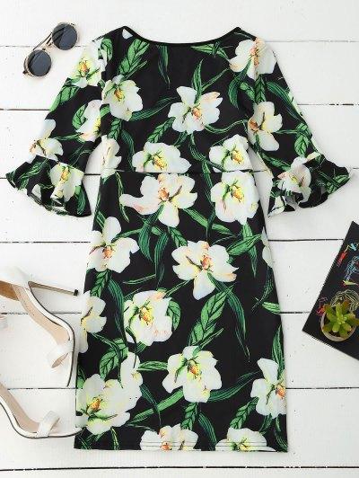 V Neck Floral Flare Sleeve Dress от Zaful.com INT
