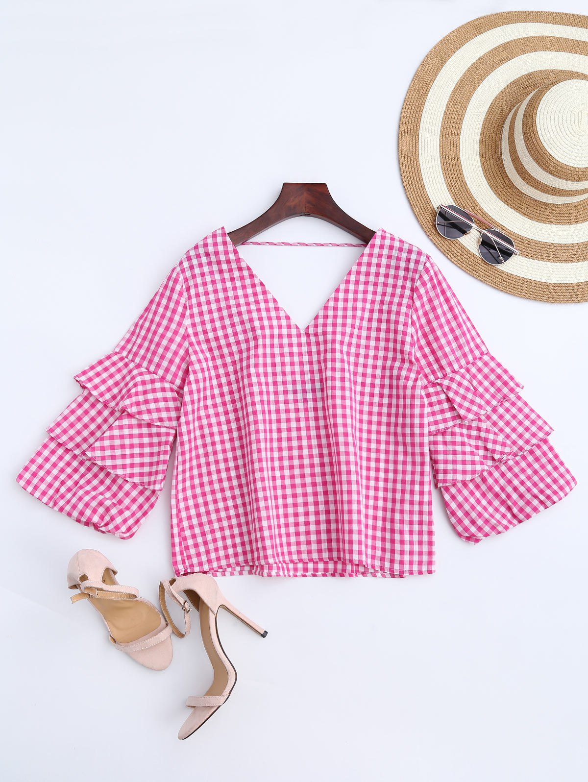 Ruffles Checked Choker Top