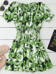 Off Shoulder Camo Smocked Waist Dress