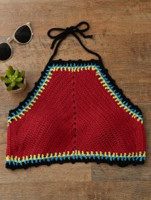 Color Block High Neck Crochet Swim Top