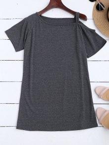 One Shoulder Longline T-Shirt - Deep Gray S